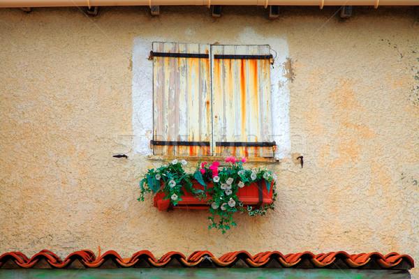 Venster Frankrijk oude witte Geel Stockfoto © lubavnel