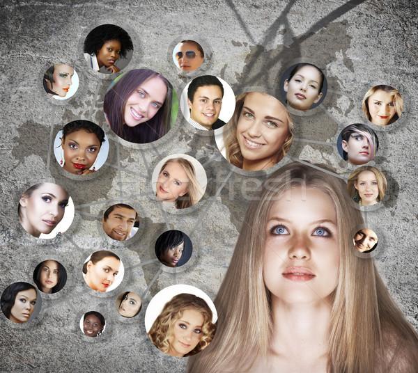 Photo stock: Jeune · femme · réseau · social · belle · jeunes