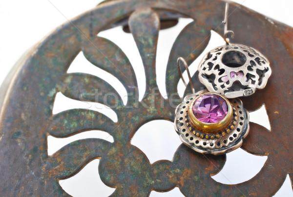 Turkish Ottoman silver earrings Stock photo © lubavnel