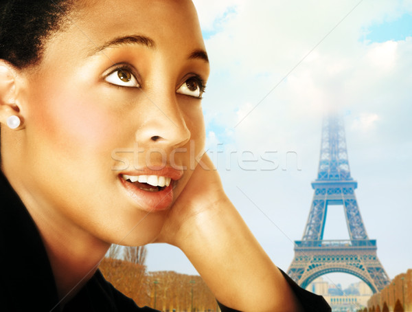 Foto stock: Mulher · Paris · jovem · africano · negócio · terno