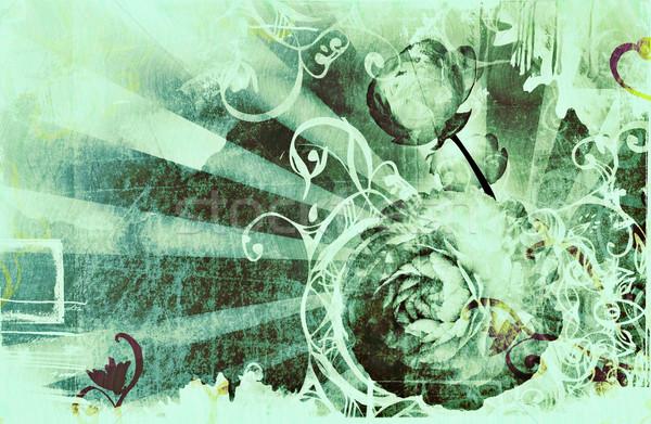Stok fotoğraf: Grunge · sayfa · rays · çiçekler · dizayn
