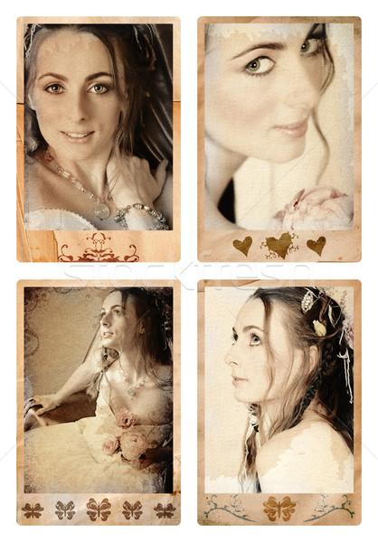 Grunge bride photos. Stock photo © lubavnel