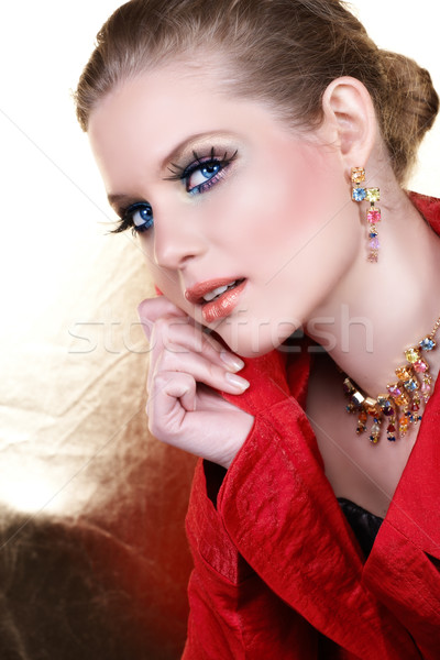 Stok fotoğraf: Moda · makyaj · kadın · kırmızı · sarışın · ceket