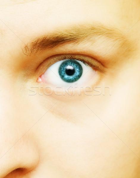 Oog vastbesloten man Blauw groot witte Stockfoto © lubavnel