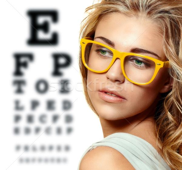 Gyönyörű szőke nő citromsárga trendi szemüveg Stock fotó © lubavnel