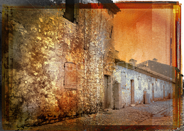 vintage picture of a rustic french street  Stock photo © lubavnel