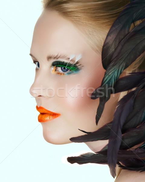 Szépség zöld szempilla gyönyörű nő művészi arany Stock fotó © lubavnel