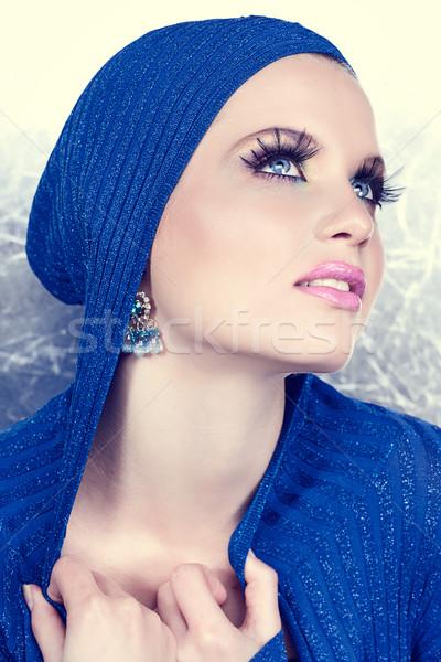 Uśmiechnięty piękna srebrny piękna kobieta długo rzęsy Zdjęcia stock © lubavnel