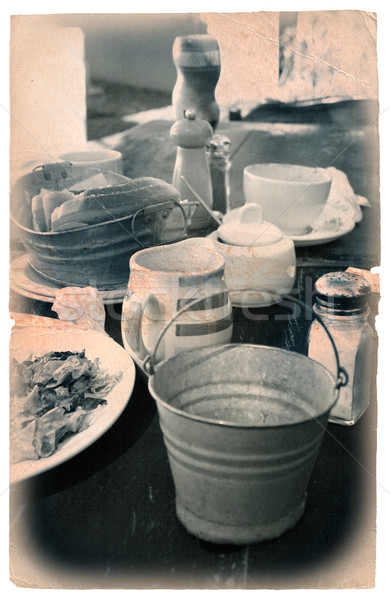 home-made breakfast set on the table outside Stock photo © lubavnel