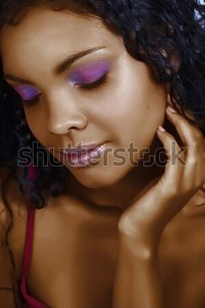 Foto d'archivio: Bella · african · donna · indossare · viola · ombretto