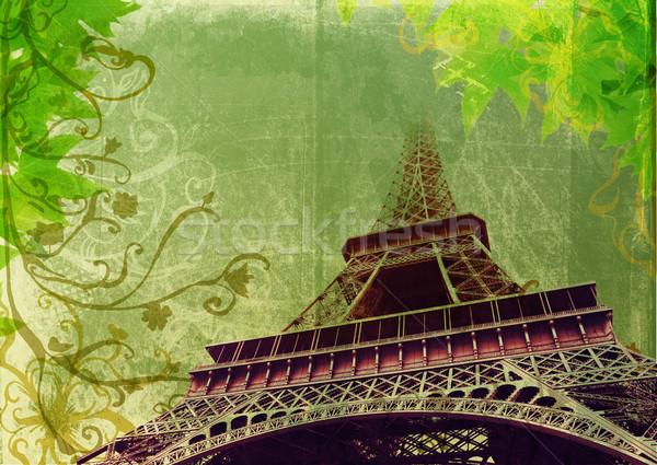 Grunge Eiffel Tower in sepia Stock photo © lubavnel