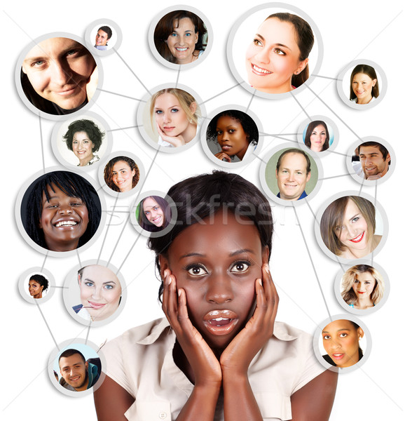African Amercian business woman and social network Stock photo © lubavnel