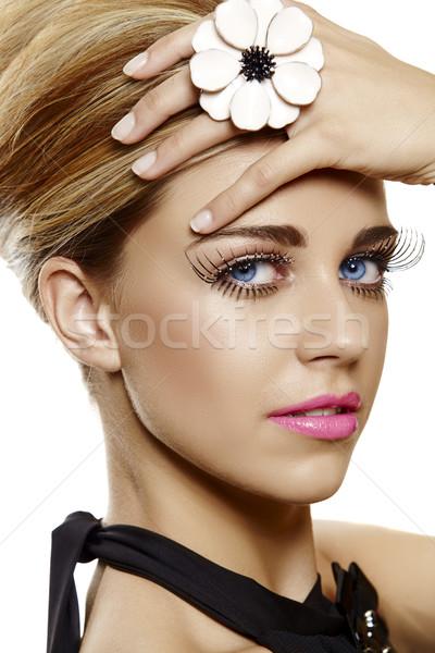 Mulher cílios postiços rosa batom belo mulher jovem Foto stock © lubavnel