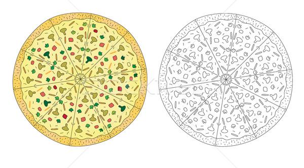 пиццы рисунок цвета линия черно белые эскиз Сток-фото © lucia_fox