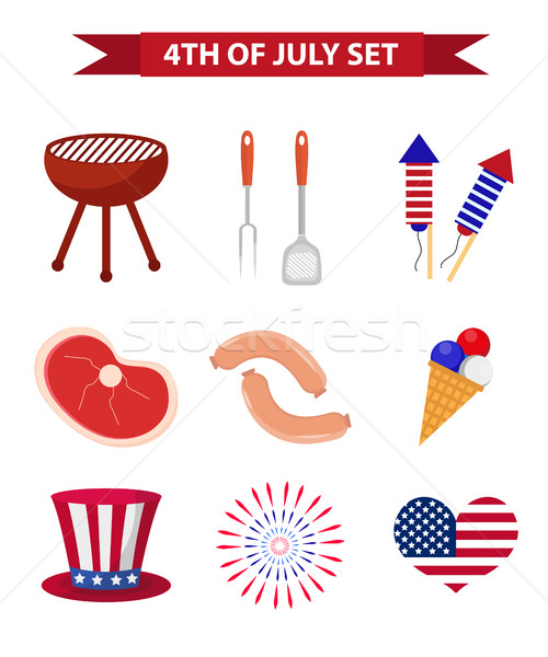 Set of patriotic icons Independence Day of America. July 4th collection of design elements, isolated Stock photo © lucia_fox