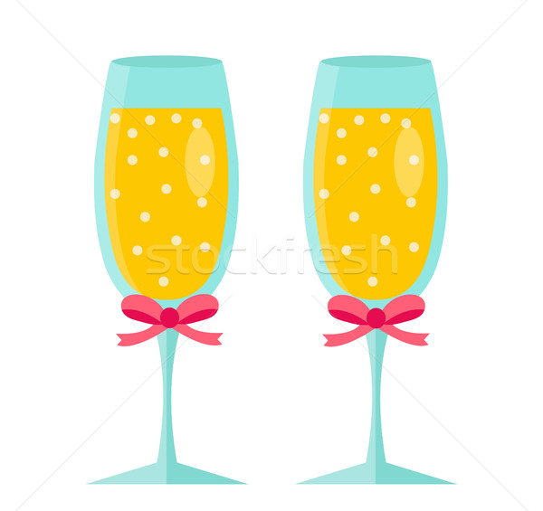 Glasses of champagne icon, flat design. Isolated on white background. Vector illustration, clip art. Stock photo © lucia_fox
