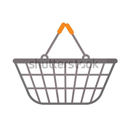 Shopping basket icon, modern line, sketch, doodle style. Metal , mesh in a supermarket isolated on w Stock photo © lucia_fox