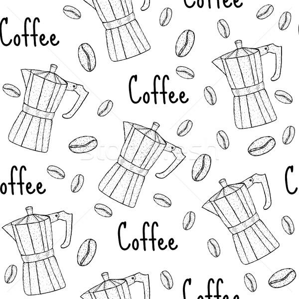 コーヒー 間欠泉 シームレス テクスチャ 手 背景 ストックフォト © lucia_fox