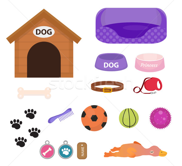 Dogs stuff icon set with accessories for pets, flat style, isolated on white background. Puppy toy.  Stock photo © lucia_fox