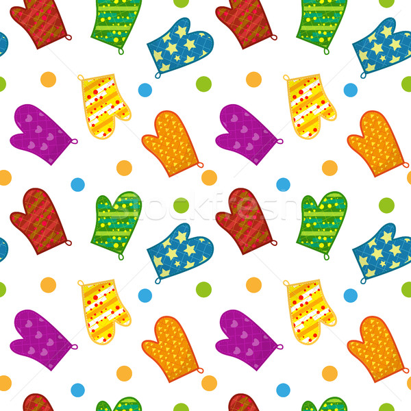 Kitchen potholders seamless pattern. Mittens for cooking endless background, repeating texture. Isol Stock photo © lucia_fox
