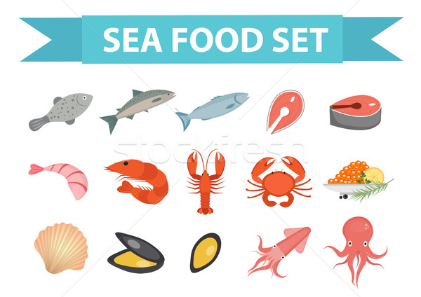 Stock photo: Seafood icons set vector, flat style. Sea food collection isolated on white background. Fish product