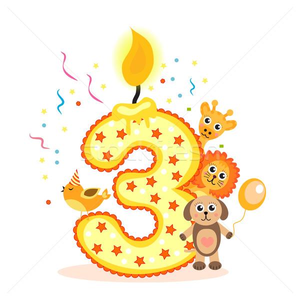 First Birthday Candle With Animals Stock Photo: Gelukkig · Derde · Verjaardag · Kaars · Dieren