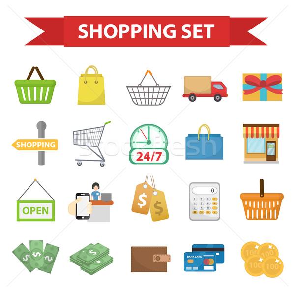Vásárlás ikon gyűjtemény stílus bolt ikonok gyűjtemény Stock fotó © lucia_fox