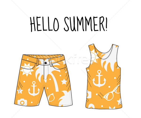 Hello summer T-shirt and shorts with beach print. Summer, beach theme. T-shirt and shorts, summer cl Stock photo © lucia_fox