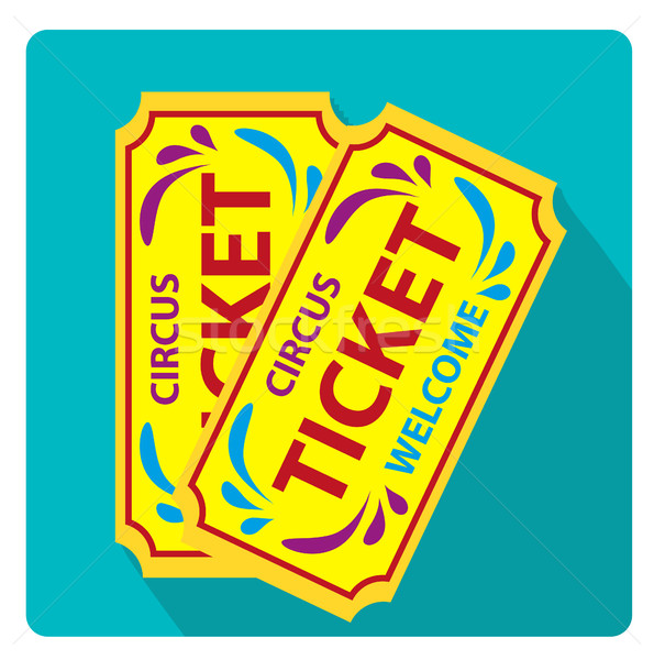 Stock photo: Tickets to the circus icon flat style with long shadows, isolated on white background. Vector illust