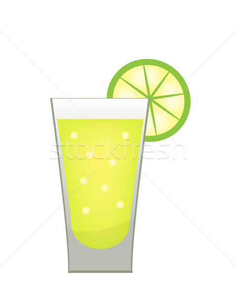 Stack of tequila with a lime slice icon flat, cartoon style. Drink isolated on white background. Alc Stock photo © lucia_fox