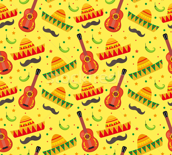 Stock Photo Cinco De Mayo Seamless Pattern Mexican Holiday Endless Background Texture Vector Illustration