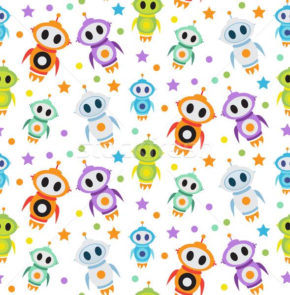 Cute kids seamless pattern robot rocket. Children endless background, texture, wallpaper. Vector ill Stock photo © lucia_fox