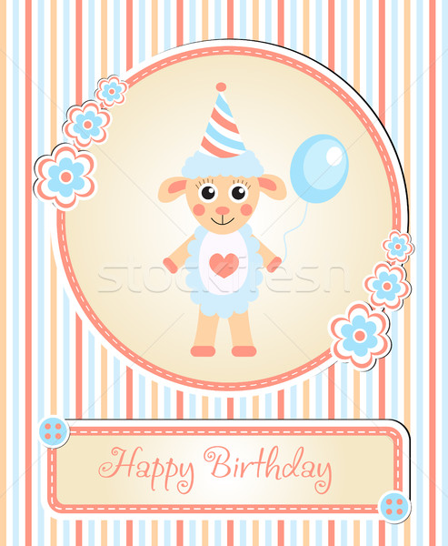 greeting template cute children s birthday party, cartoon sheep Stock photo © lucia_fox