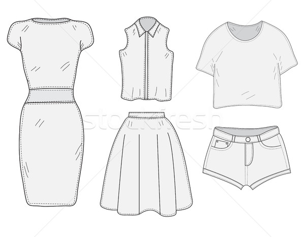 Women's Clothing set sketch. Clothes, hand-drawing, doodle style.  Women's clothes vector illustrati Stock photo © lucia_fox