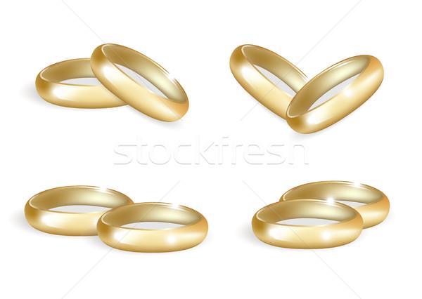 Realista casamento ouro anéis conjunto 3D Foto stock © lucia_fox