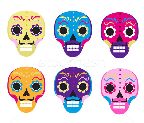 Sugar skull set icon, flat, cartoon style. Cute dead head, skeleton for the Day of the Dead in Mexic Stock photo © lucia_fox