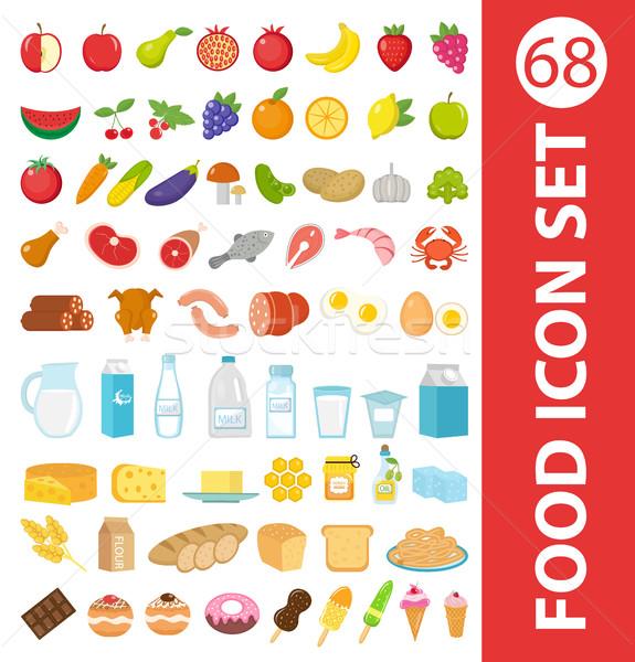 Nagy szett ikonok étel stílus gyümölcsök Stock fotó © lucia_fox