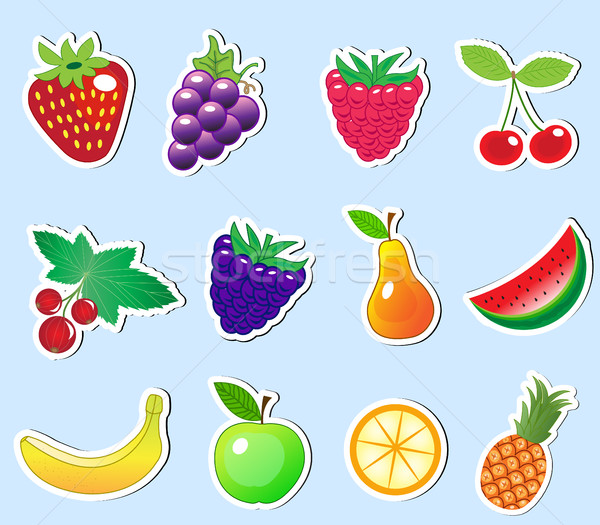 cute cartoon fruit sticker set, vector illustration Stock photo © lucia_fox