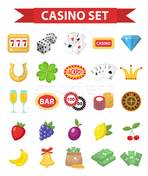 Casino icons, flat style. Gambling set isolated on a white background. Poker, card games, one-armed  Stock photo © lucia_fox