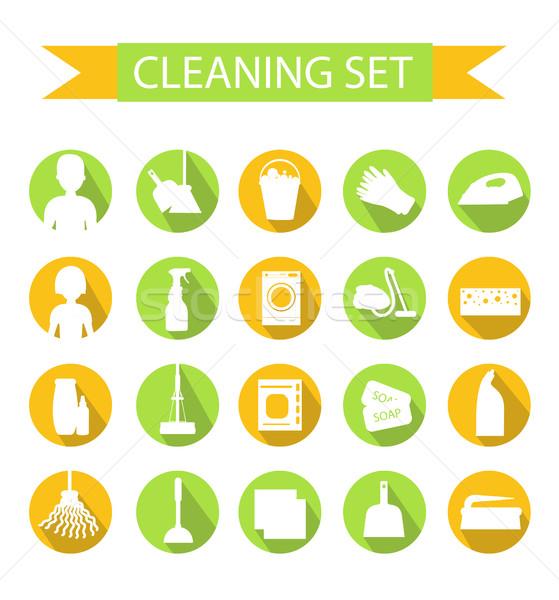 Ingesteld iconen schoonmaken tools huis Stockfoto © lucia_fox