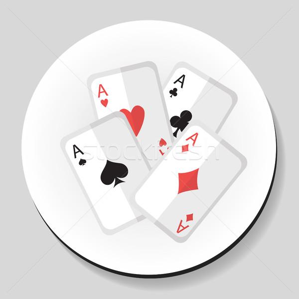 Cartas de jogar aces adesivo ícone estilo fundo Foto stock © lucia_fox