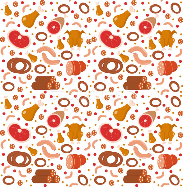 Meat products seamless pattern, flat style. Meats and sausage endless background, texture. Vector il Stock photo © lucia_fox