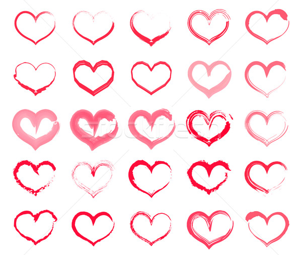 Grunge Heart Set Collection Of Hand Drawing Hearts With Different