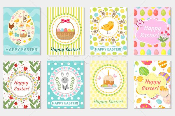 Vrolijk pasen wenskaart collectie flyer poster voorjaar Stockfoto © lucia_fox