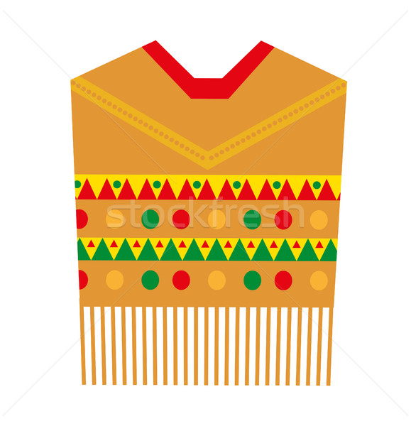 Poncho icon, flat style. Mexican traditional clothing. Isolated on white background. Vector illustra Stock photo © lucia_fox