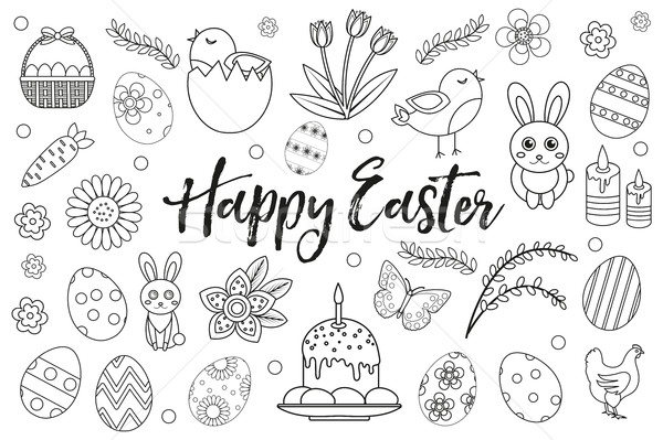 Happy Easter collection object, design element. Hand drawing, outline style. Easter coloring page se Stock photo © lucia_fox
