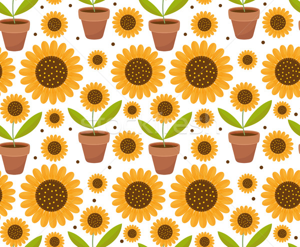 Summer seamless pattern with yellow sunflower flowers. Village endless background, repeating texture Stock photo © lucia_fox