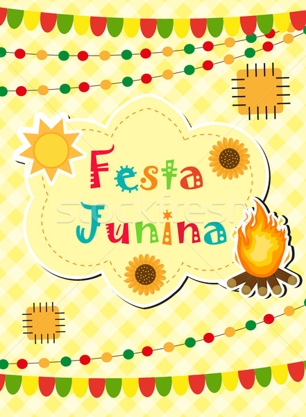 Festa Junina greeting card, invitation, poster. Brazilian Latin American festival template for your  Stock photo © lucia_fox