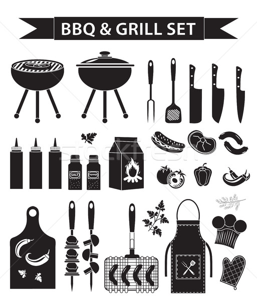 Barbecue and grill icons set, black silhouette, outline style. BBQ collection of objects, elements o Stock photo © lucia_fox