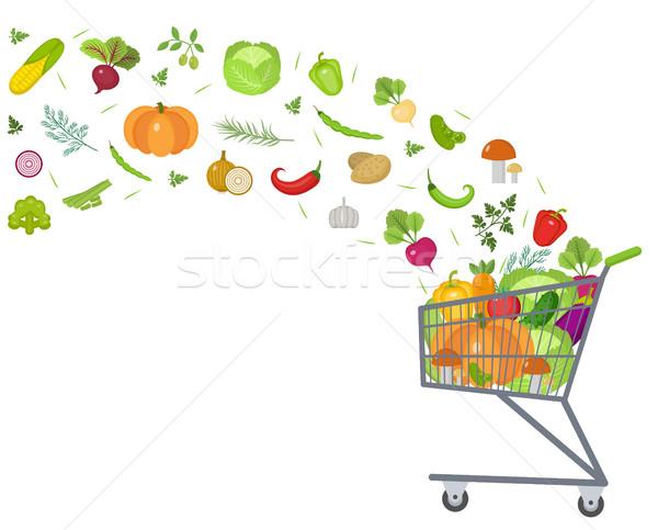 Vol winkelwagen verse groenten ontwerp banner ruimte Stockfoto © lucia_fox